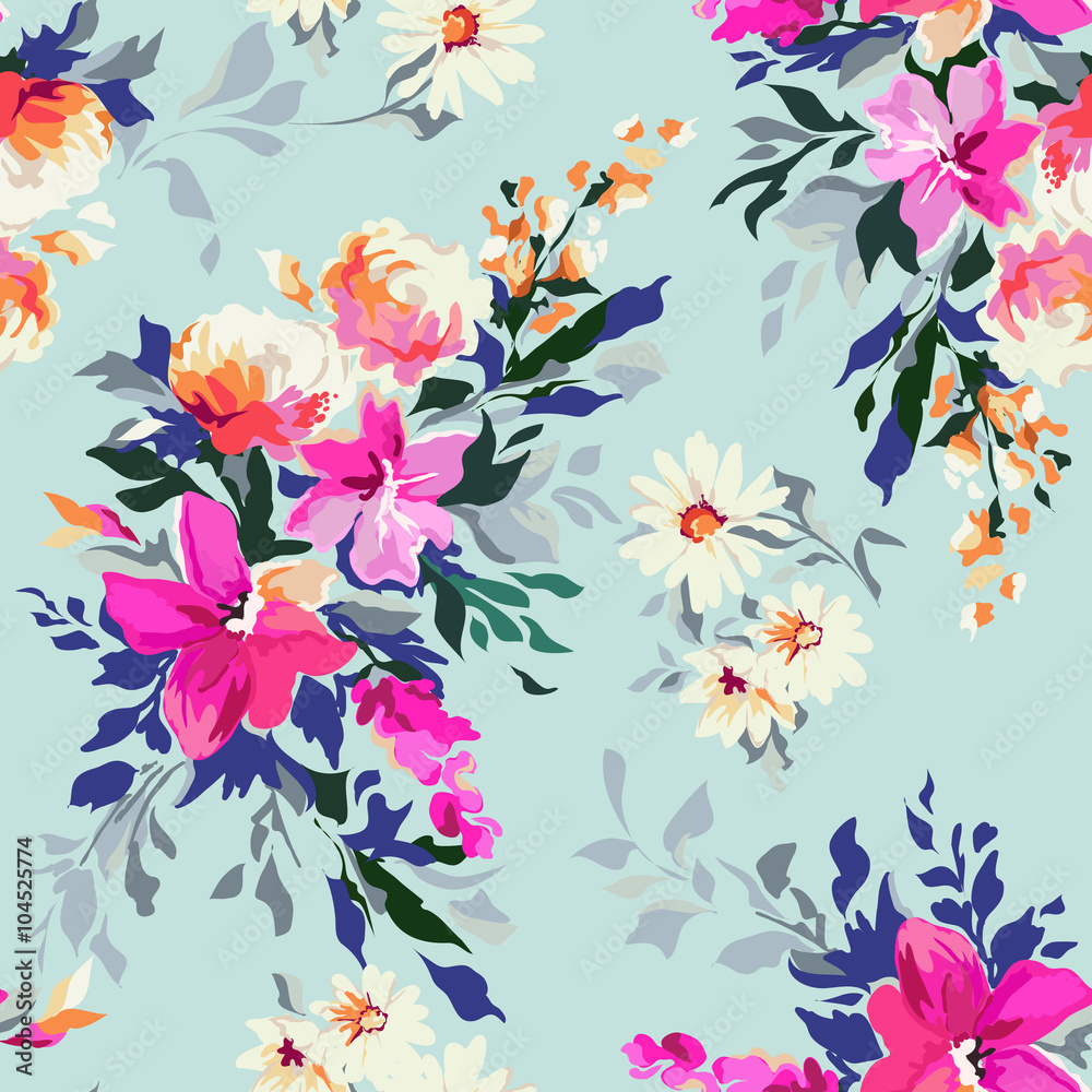 Bright floral print ~ seamless background