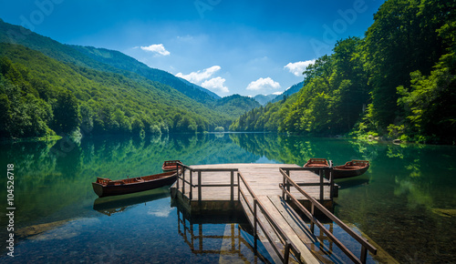 Photo Stands Lake Biogradsko lake landscape, Montenegro