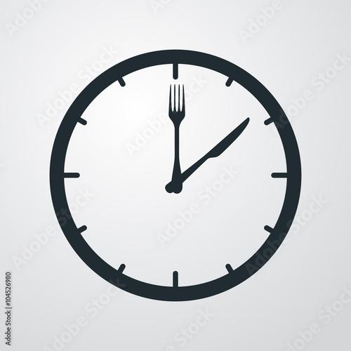 Fotografía  Icono plano hora de comer sobre fondo degradado #1
