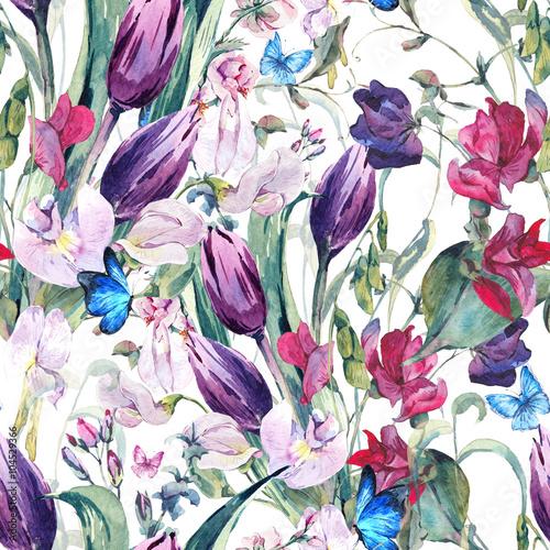 akwarela-bezszwowe-tlo-z-groszkiem-tulipany