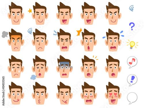 Fotografie, Obraz  男性の20種類の表情