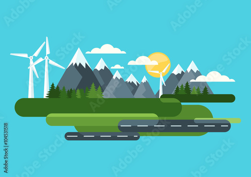Ecology and environmental concept. Green landscape, mountains and wind turbine, alternative energy generators. Vector flat style illustration. Summer travel and outdoors background.