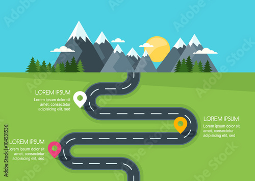 Poster Turquoise Road with markers, vector infographics template. Winding road in green field and mountains. Rural street flat style illustration. Summer or spring landscape background with space for text.