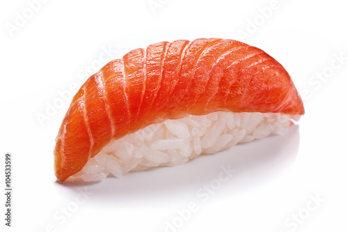 Smoked salmon sushi isolated on white