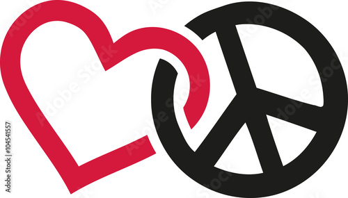 Fotografering Love and peace signs intertwined