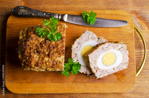 Photo  Meat Loaf with boiled egg