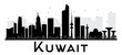 Kuwait City skyline black and white silhouette.