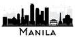 Manila City skyline black and white silhouette.