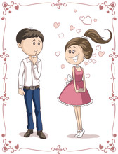 Love At First Sight Vector Cartoon