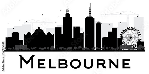 Melbourne City skyline black and white silhouette.