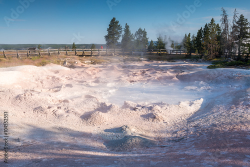 people watching geyser,scenic view of colorful Geysers in