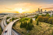 Seattle Skylines And Interstate Freeways Converge With Elliott Bay,Seattle,Washington,usa.
