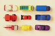 Set of various cars toys, top view image