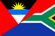 canvas print picture - Waving flag of South Africa and Antigua and Barbuda
