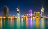 City night on Sai Gon river, Ho Chi Minh city, Viet Nam