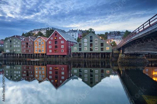 Garden Poster Scandinavia Trondheim. Image of norwegian city of Trondheim during twilight blue hour.