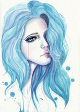 Crying Girl With Blue Hair. Wa...