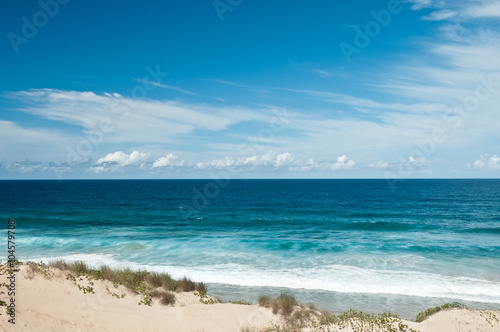 In de dag Afrika View on Dunes and Indian Ocean tropical beach with waves, Tofo, Mozambique