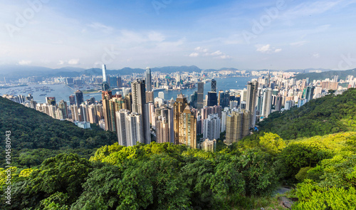 Hong Kong Skyline from Victoria Peak in Hong Kong, China. Canvas Print