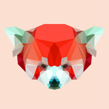 Abstract Geometric Polygonal Red Panda