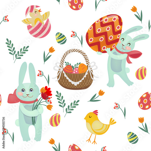 Cotton fabric Happy Easter Seamless Pattern with Bunnies, Chicks, Eggs and Flowers