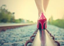 Female Legs In Red High Heels ...