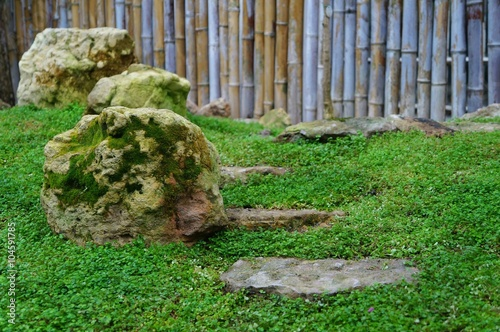 Deurstickers Groene Ландшафт японского сада