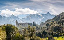 San Francesco Convent And Mountains At Castifao In Corsica