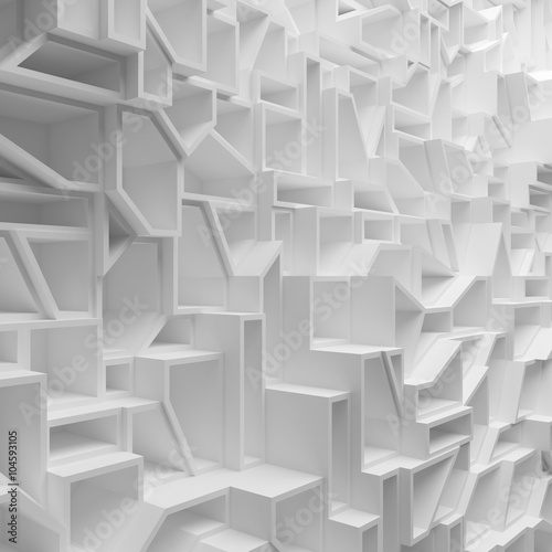 Geometric white abstract polygons, as wallpaper for room