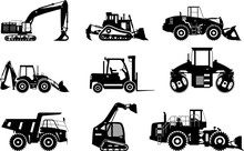 Set Of Silhouettes Heavy Construction And Mining Machines Isolated On White Background. Vector Illustration.