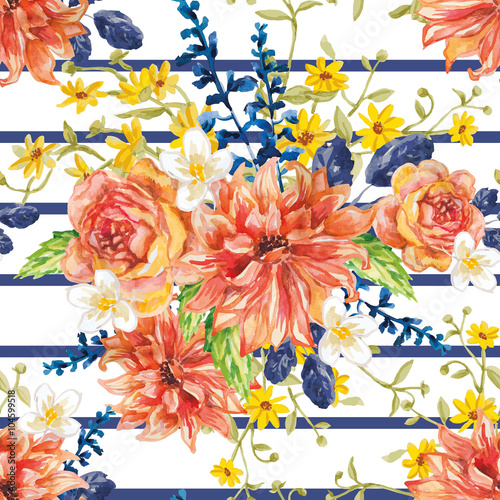 bouquet of red orange and yellow flowers with blue leaves and floral elements on the white background watercolor with summer garden and wild flowers dahlias roses and daisies design frame buy red orange and yellow flowers