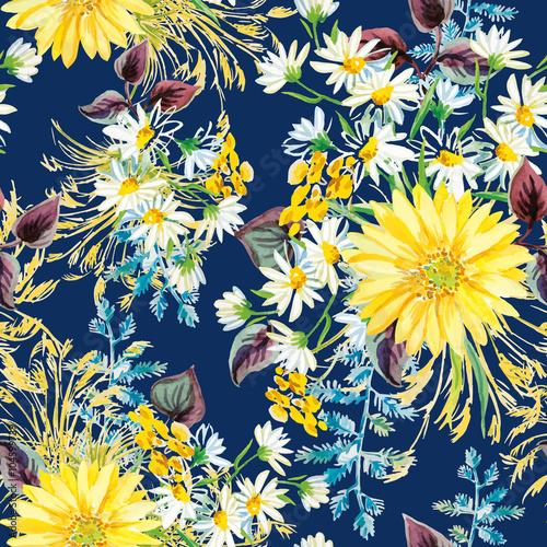 zolte-i-biale-kwiaty-z-fioletowymi-liscmi-i-kwiatowy-elementy-na-ciemnym-n