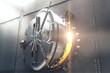 Leinwanddruck Bild - Closeup of bank vault door