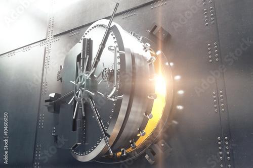 Fotografia  Closeup of bank vault door