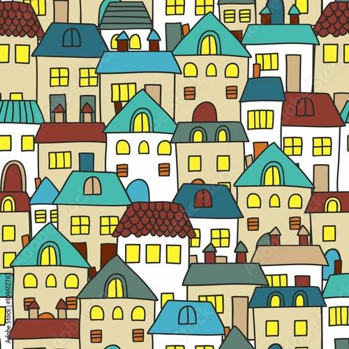 sliczny-kreskowka-wzor-z-domami-bezszwowe-tlo-wektor