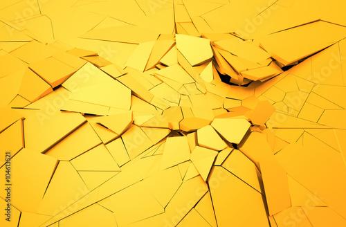 abstrakcja-3d-popekana-zolta-powierzchnia-wyburzanie-sciany