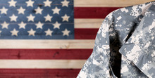 Military Uniform With Faded Boards Painted In American USA Flag