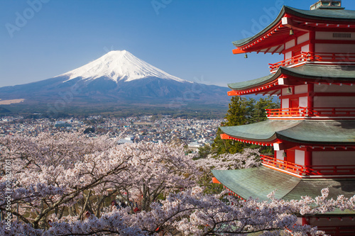 Fotomural Japan beautiful landscape Mountain Fuji and Chureito red pagoda with cherry blos