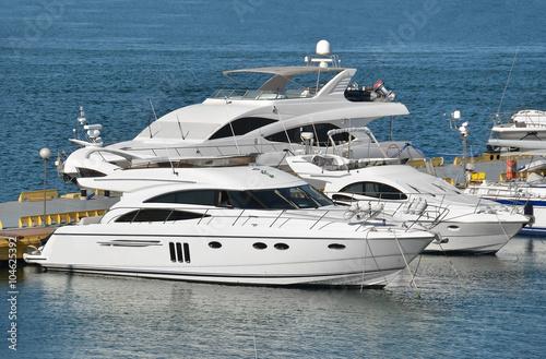 Poster Nautique motorise Motor yacht in jetty