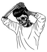 Greaser Skull Combing Hair