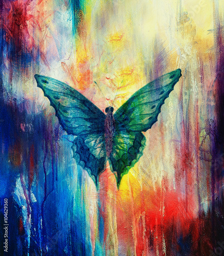 Fotobehang Vlinders in Grunge illustration of a butterfly, mixed medium, abstract color background.