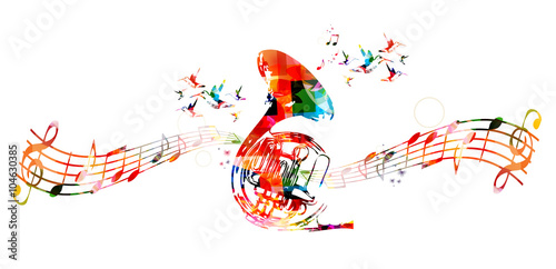 Fotografia  Colorful french horn with hummingbirds
