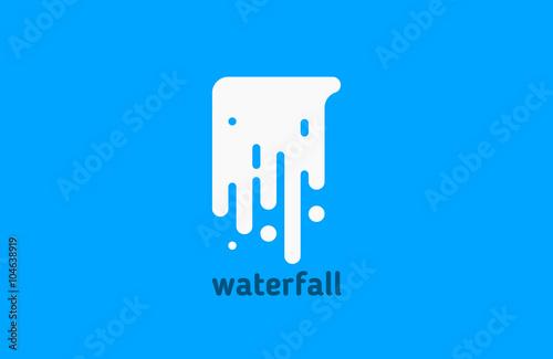 logo wodospadu. logo wody. kreatywne projektowanie logo. logo linii.