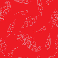 Doodle seamless pattern with feathers