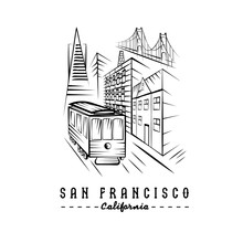 San Francisco Golden Gate Bridge ,buildings And Tram