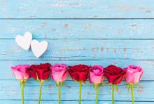Zwei Herzen Liebe Rosen Hinter...