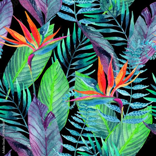 Fotobehang Paradijsvogel Tropical leaves seamless pattern. Floral design background.