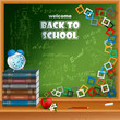 Back to school, design background with primary subject matter school books and supplies, apple and flowers on desk and squares mosaic, formulas written on chalkboard