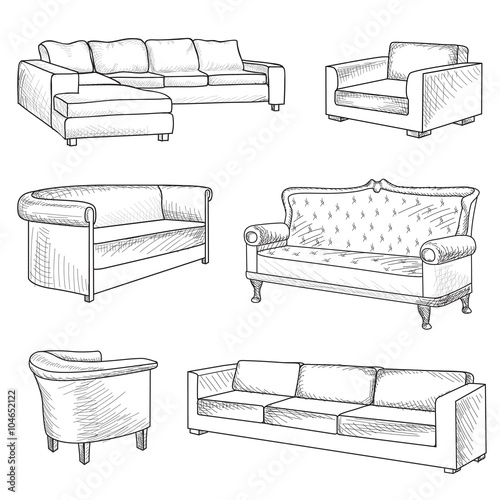 Terrific Furniture Set Interior Detail Outline Sketch Interior Cjindustries Chair Design For Home Cjindustriesco