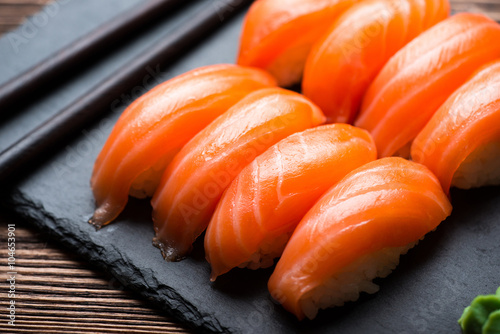 Photo  Sushi with salmon